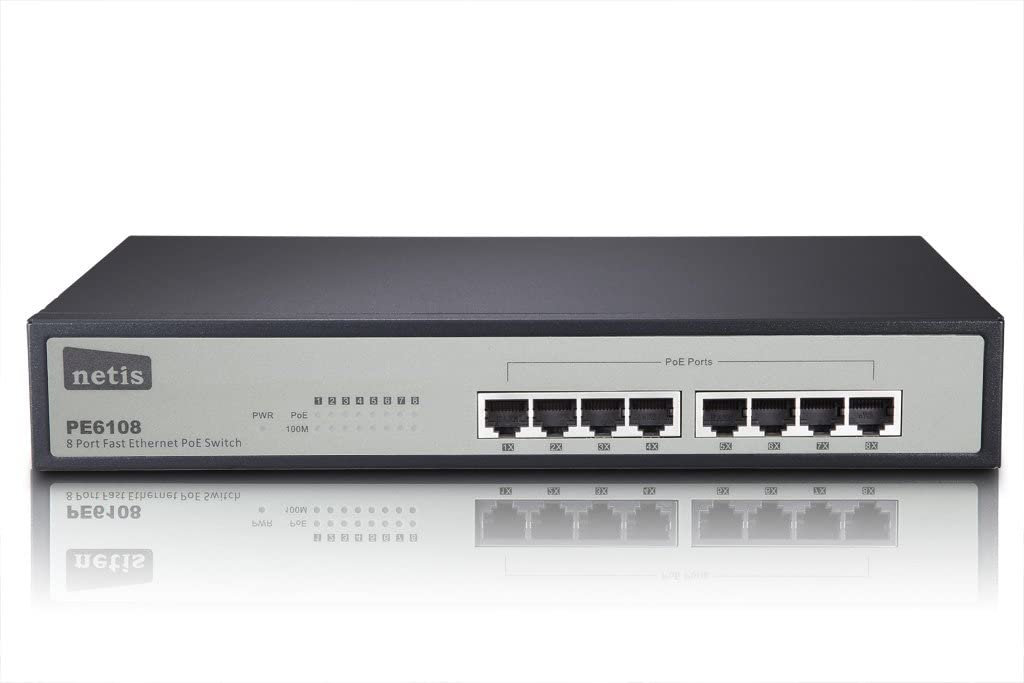 Amazon Com Netis Pe6108 8 Port Ethernet Switch With 8 Poe Port 15 4w Per Port Total Poe Budget 124w Ieee802 3af Computers Accessories