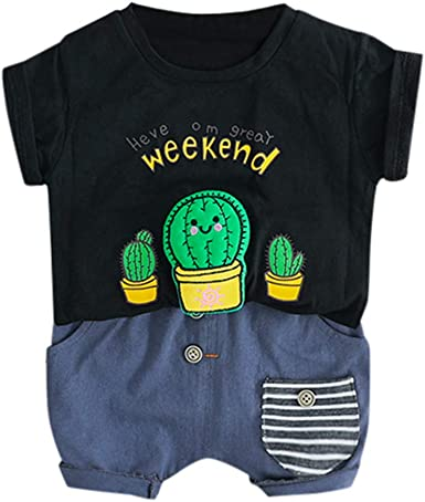 Womola Infant Baby Boy Clothes Short Sleeve Cactus Letter Print Top T Shirt Shorts 2 Pieces Set