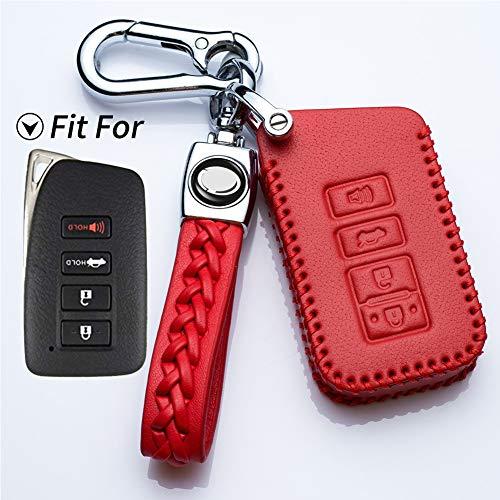(Hey Kaulor Genuine Leather Keyless Remote Fob Case Car Cover fit for Lexus ES250 ES350 ES300H GS350 GS450 NX300 ES300H -4-Buttons )