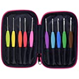 Clover 3673 Amour Crochet Hook Set with Zippered Case, Size 10, Neon Green with Hot Pink Trim