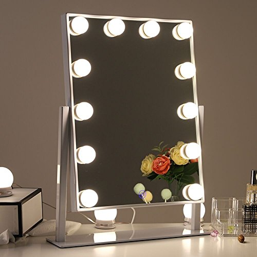 Classic Adjustable Mirror (Chende Glossy White Lighted Vanity Mirror with Dimmable LED Bulbs, Hollywood Style Makeup Mirror with Lights for Touch Control Design, 3 Different Lighting Settings (4030 White))