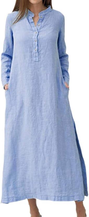 Vestido de Camisa de Mujer con Cuello Alto Vestido Vintage de algodón Partido por el Lado Vestido de Manga Larga de Gran tamaño: Amazon.es: Ropa y accesorios