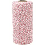 Just Artifacts ECO Bakers Twine 110-Yards 12Ply Striped Light Pink - Decorative Bakers Twine for DIY Crafts and Gift Wrapping