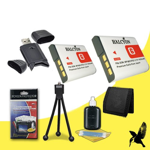 Two Halcyon 1400 mAH Lithium Ion Replacement NP-BG1 Battery + Memory Card Wallet + SDHC Card USB Reader + Deluxe Starter Kit for Sony CyberShot DSC-HX30V, DSC-HX20V, DSC-HX5V, DSC-HX7V, DSC-HX9V, DSC-H3, DSC-H7, DSC-H9, DSC-N1, DSC-N2, DSC-T100, DSC-T20, DSC-W100, DSC-W130, DSC-W150, DSC-W200, DSC-W30, DSC-W300, DSC-W35, DSC-W50, DSC-W55, DSC-W70, DSC-W80, DSC-W90, DSC-H10, DSC-H20, DSC-H50, DSC-H55, DSC-H70, DSC-W120, DSC-W170, DSC-W210, DSC-W215, DSC-W220,W230 Digital Cameras and Sony NP-BG1