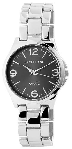 Modische Damenuhr Anthrazit Silber Analog Metall Armbanduhr Quarz Modeuhr