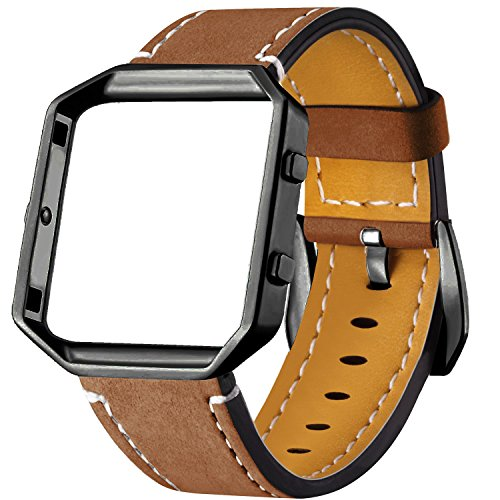 Dizywiee For Fitbit Blaze Leather Bands with Metal Frame, Classic Genuine Leather Wristband for Fitbit Blaze Replacement Fitness Strap Women Men