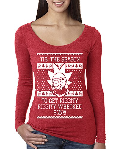 Shoes From Back To The Future (Tis The Season To Get Riggity Riggity Wrecked Son   Womens Ugly Christmas Scoop Long Sleeve Top Graphic Shirt, Vintage Red, Small)