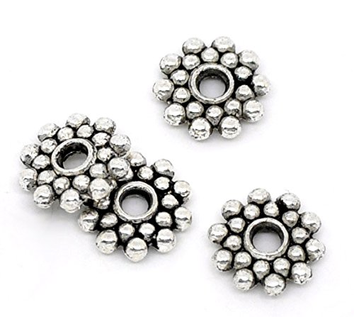 Beads Silver Spacer Metal - 200 pcs antique silver Daisy Spacer DIY metal spacer Beads 8mm Jewelry Making #0283 (antique silver )