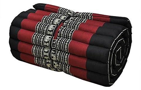 Roll up Thai Mattress, 79x21x2 inches, Kapok (small,Red-Black). (Free a Gift Hb Herbal Breen Eri Silk Protein Handmade Body Soap, Tamarind + Honey Soap By Hb - 2 Free Mattresses