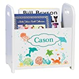 Personalized Sea and Marine White Book Caddy Magazine Rack