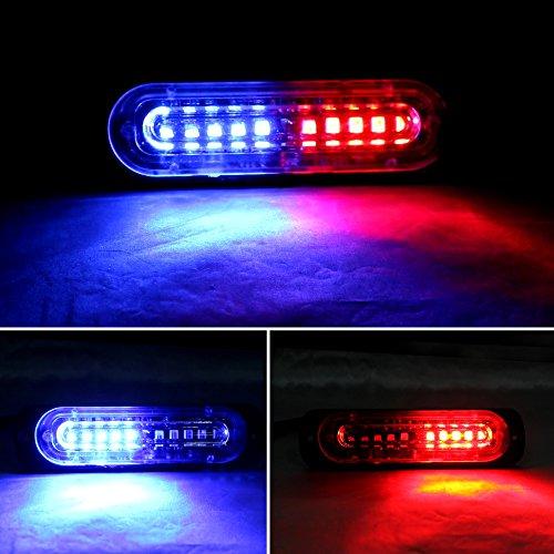 XT AUTO 4.4-inch Ultra Thin Slim Strobe 10 LED Light Head Emergency Hazard Beacon Caution Warning Strobe Lights for Truck Car Vehicle Law Enforcement Snow Plow White 4-Pack