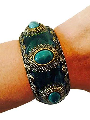 Bangle Emerald Gold Bracelets - Fitness Activity Tracker Bracelet for Garmin VivoSmart - The APHRODITE Emerald Green and Gold Bangle Bracelet (Green, Garmin VivoSmart)