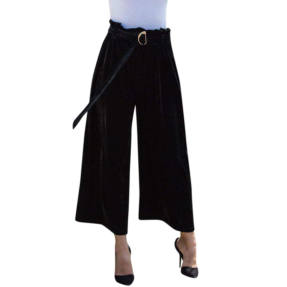 Lightning Deals! Women Pants DEATU Ladies Fashion Casual Comfy Lace up Trousers Summer Loose Straight Pants(Black,S)