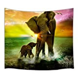 HNMQ Animal Theme Tapestry Safari Art, Africa Elephant and Baby Playing in Ocean at Sunrise, Wall Art Hanging for Bedroom Living Room Dorm 71 X 60 Inches Wall Blankets Home Decor