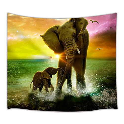 NYMB Animal Theme Tapestry Safari Art, Africa Elephant and Baby Playing in Ocean at Sunrise, Wall Art Hanging for Bedroom Living Room Dorm 71 X 60 Inches Wall Blankets Home Decor