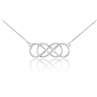 infinity necklace white gold. 14k white gold double infinity pendant necklace, 16\u0026quot; necklace
