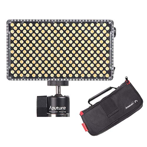Aputure AL-F7, Aputure H198 Upgrade Ver 256 LED Bi-Color Dimmable Led Video Light, CRI95+ TLCI95+, 3200-9500K, Stepless Brightness, Multiple Charging Methods, Lightweight Compact with PERGEAR Cloth