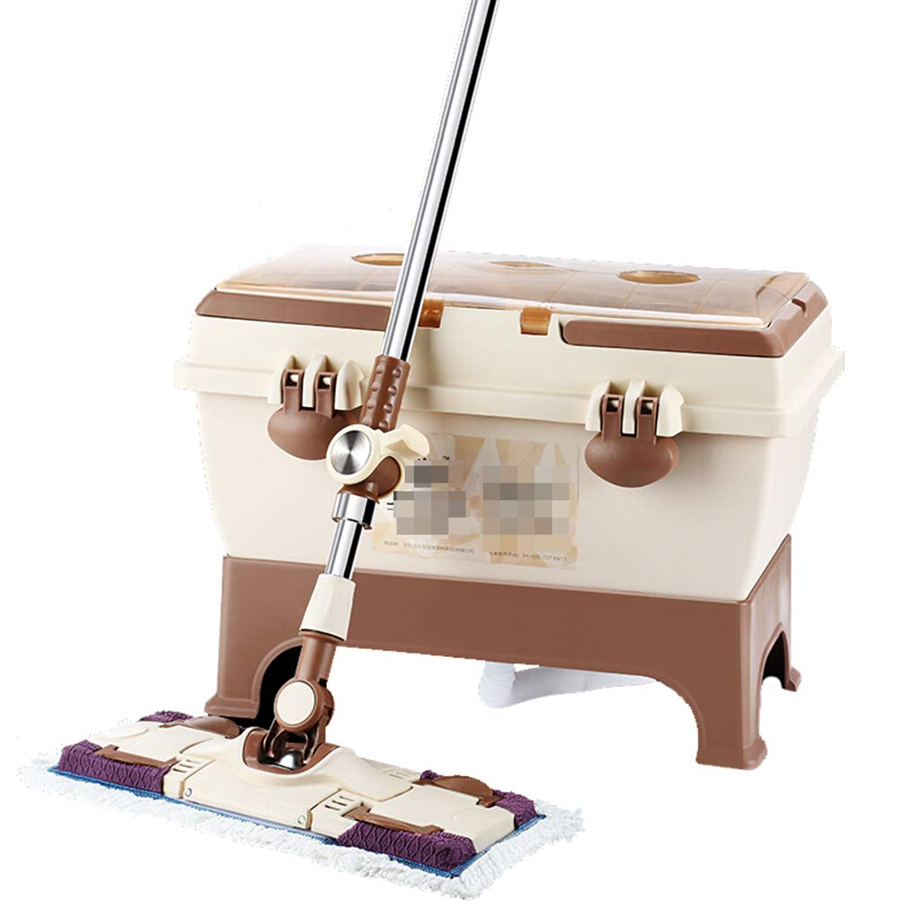 Happy Time MOP Flat mop Home Free Hand wash Rotation Thickened Double Drive Dump Dry mop Bucket Drag Ground Scraping Stainless Steel mop,Gray