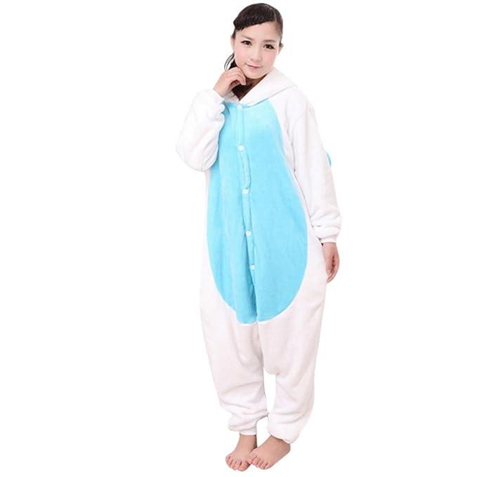 Feoya - Pijama Unisex Adulto Traje Disfraz Animal Unicornio Franela Cosplay - Unicornio Azul M