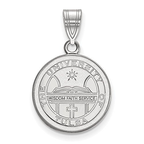 Solid 925 Sterling Silver The University of Tulsa Medium Crest Pendant (15mm x 24mm) (Crest Sterling Silver Solid Pendant)