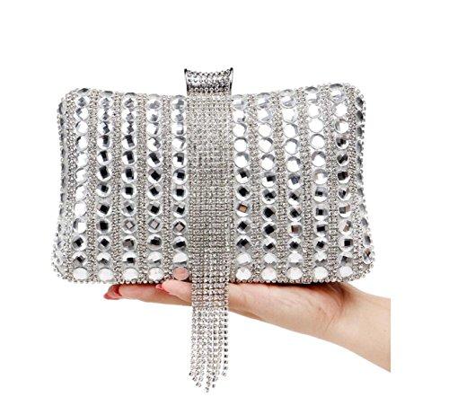 Diamonds Handbag Exquisite GSHGA Bag Evening Silver Silver Handbag Women's Banquet E4U4nqOw