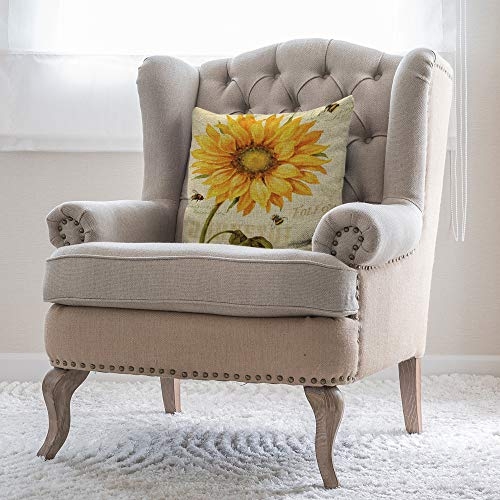 Moslion Throw Pillow Cover Sunflower 18x18 Inch Bright Plant Nature Leaf Bees Floral Spring Square Pillow Case Cushion Cover for Home Car Decorative Cotton Linen