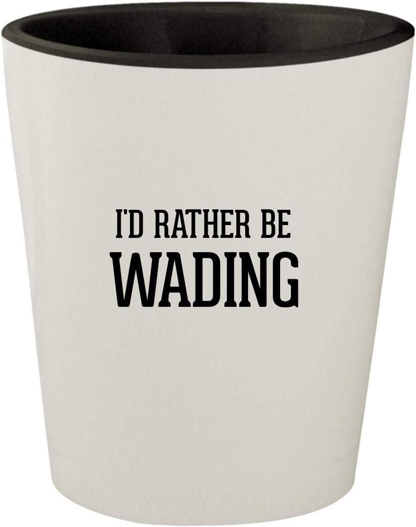 I'd Rather Be WADING - White Outer & Black Inner Ceramic 1.5oz Shot Glass