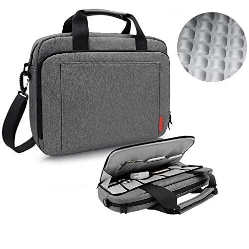 (iCozzier 13.3-14 Inch Laptop Shoulder Bag,Electronic Accessories Storage Messenger Carrying Bag Protective Briefcase for Ultrabook/Notebook/MacBook-Grey)