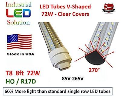 60% More Light - 25-Pack Dual V-LED 72W 8Ft Tube Light, Cold White (6000K), Clear Lens with HO/R17D Connector Ends, T8/T12, 85V-265V AC, 72W - 7200 Lumens (120W Fluorescent equivalent)