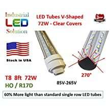 60% More Light - Pack of 25 ($23.00 each) Dual V-LED 8Ft Tube Light, 6000K (Cold white), Clear Lens with HO/R17D Connector Ends, T8/T12, 85V-265V AC, 72W - 7200 Lumens (120W Fluorescent equivalent)
