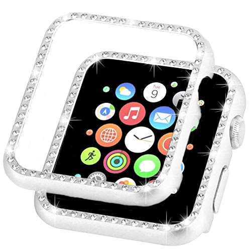 Ayigo Compatible with Apple Watch Case 38mm 42mm, Metal Bumper Protective Cover Women Diamond Crystal Rhinestone Shiny Compatible iWatch Series 3/2/1 (Silver, 38mm) ()