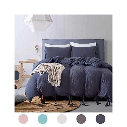 Moreover 3 Pieces Navy Blue Bedding Navy Duvet Cover Set Bowknot Design Solid Color Bedding Soft Navy Blue Bedding Sets Queen One Duvet Cover Two Bow Tie Pillowcases (Queen, Navy Blue)