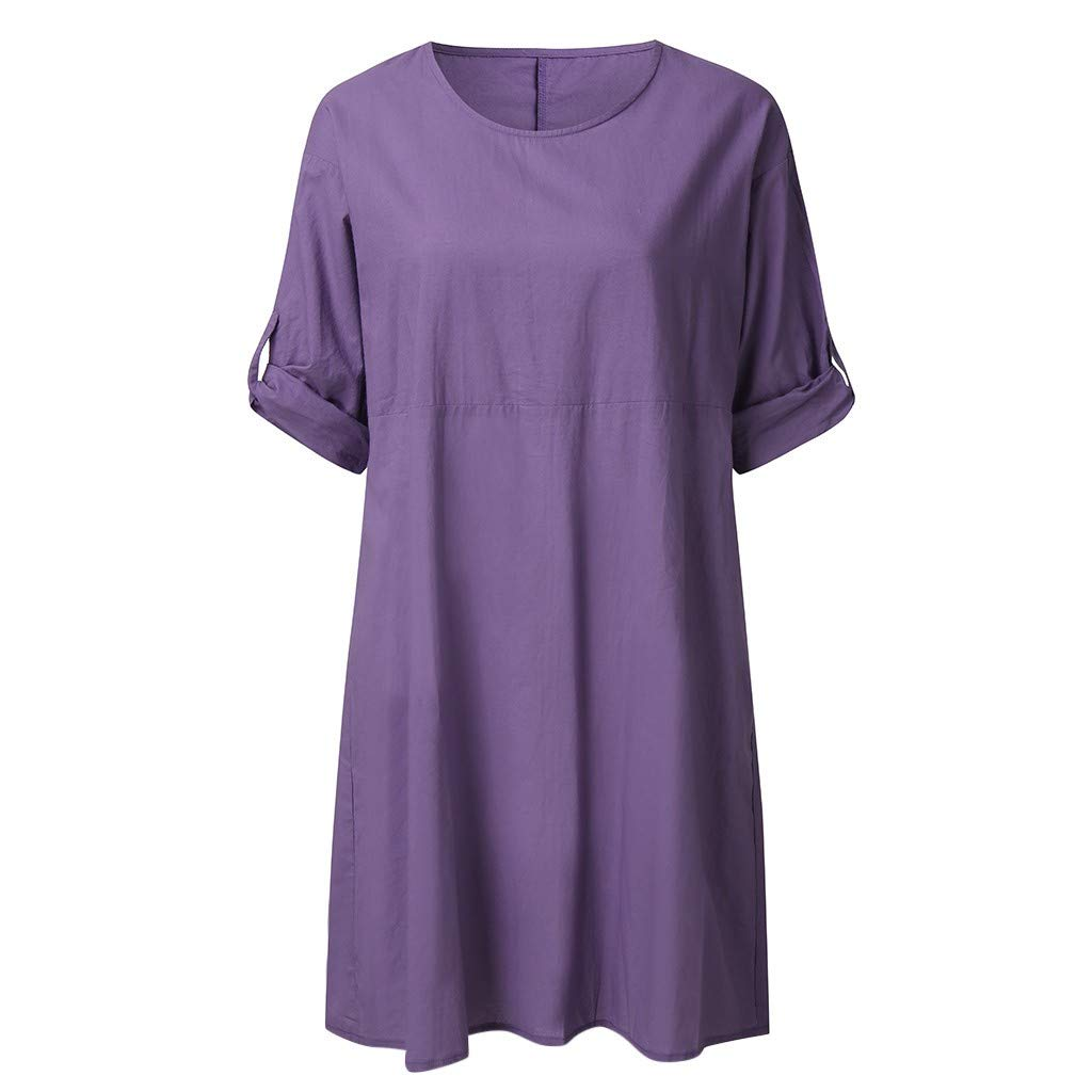 Sunmoot Clearance Sale Cotton Linen Loose Casual Mini Dress for Women,Ladies Summer Solid Short Sleeve Shirts Dresses