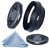 SIOTI Camera Tilted Vented Metal Lens Hood + Cleaning Cloth + 2pcs Lens Cap for Standard Thread Lens (46mm)