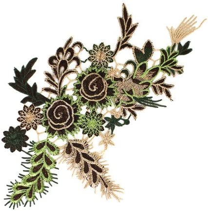 1pieces Embroidered Patches 3D Flower Applique DIY Sewing Repair Accessories Fabric Wedding Clothing Dress Floral Decorative Patches T2642 (brown) / 1pieces Embroidered Patches 3D Flower Applique DIY Sewing Repair Accessories Fabri...