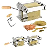 STAINLESS STEEL 3 IN 1 PASTA SPAGHETTI LASAGNE TAGLIATELLE MAKER MACHINE CUTTER (SILVER)