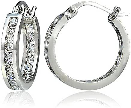 Hoops & Loops Sterling Silver Cubic Zirconia Inside Out Channel-Set Small Round Hoop Earrings