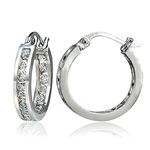 - Hoops & Loops Sterling Silver Cubic Zirconia Inside Out Channel-Set 15mm Round Hoop Earrings