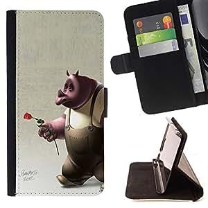 """For Samsung Galaxy J3(2016) J320F J320P J320M J320Y,S-type Rose Rose El amor de la historieta 3D del personaje"""" - Dibujo PU billetera de cuero Funda Case Caso de la piel de la bolsa protectora"""