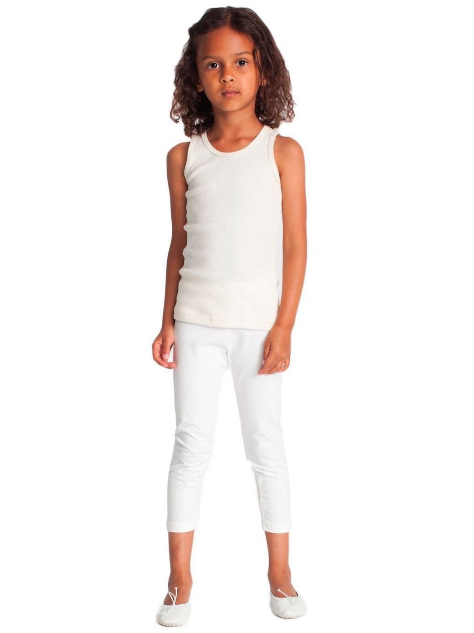 Vivian's Fashions Capri Leggings - Girls, Cotton (White, X-Large)