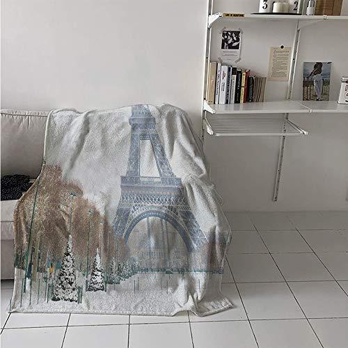 Lightweight Blanket, Eiffel Tower in Snow Outdoors Champ de Mars Tourist Attraction Paris France, Throw Blanket for Kids 50x30 Inch White Brown Green