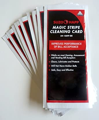 Dollar Bill Validator / Acceptor Pre-saturated Cleaning Card 25/pk