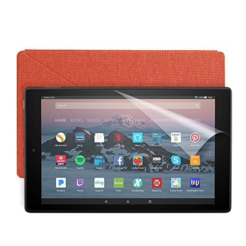 Fire HD 10 Essentials Bundle with Fire HD 10 Tablet (32 GB, Black), Amazon Cover (Punch Red) and Screen Protector (Clear)