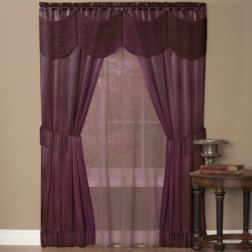 Achim Home Furnishings Halley Window Curtain in a Bag Full Window Solution, Merlot, 56 x 84-Inch