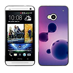 Slim Design Hard PC/Aluminum Shell Case Cover for HTC One M7 Purple Pattern / JUSTGO PHONE PROTECTOR