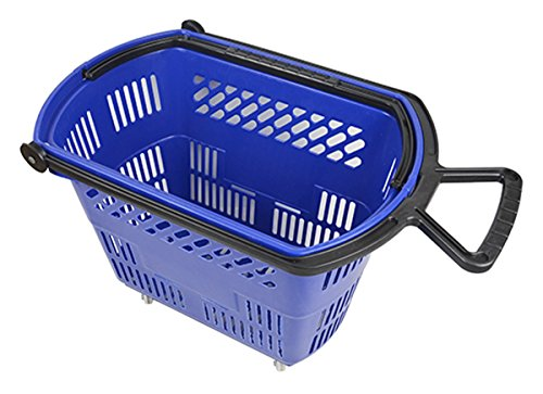 Plastic Rolling Shopping Basket with Pull Handle Super Market Retail Store Blue Lot of 6 NEW by Bentley's Display
