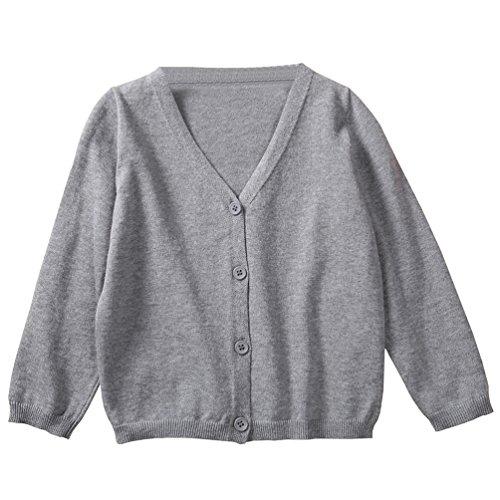 Girls Grey School Cardigan - 2