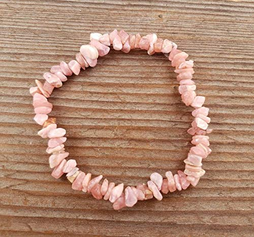 A and S Crystal Company [A&S Crystals] Rhodochrosite Natural Stone Gemstone Stretchy Chip Bracelet