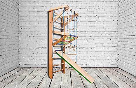 Madera maciza - haya. ¡Construcción robusta! Zona de juegos de madera para interior KN-03-220 Escalera sueca Complejo deportivo de gimnasia: Amazon.es: Deportes y aire libre