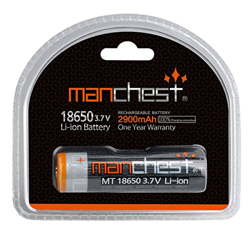 Manchest 3.7V 2900mAh 18650 Rechargeable Battery Full Charging Saturation High Performance Built-in Smart Protected Circuit Board No Overstate Capacity